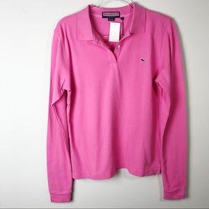 Vineyard Vines Prepster pink Long Sleeved Polo